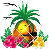 Pineapple Tropical Sunset and Flowers Stock Photography