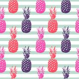 Pineapple summer fruit striped seamless pattern. Pineapple summer fruit striped seamless vector pattern royalty free illustration