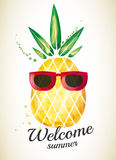 Pineapple, summer, watercolor Royalty Free Stock Photos