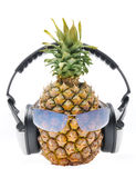 Pineapple in sun glasses. Pineapple with sun glasses and headphones front Stock Photos