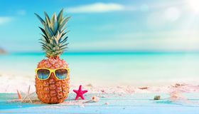 Pineapple With Sunglasses stock photos