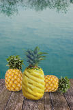 Pineapple at swimming pool Stock Photos