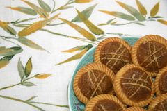Pineapple tarts. Eight pineapple tarts served on a plate Royalty Free Stock Image