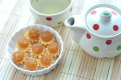 Pineapple Tarts and Green Tea Stock Images