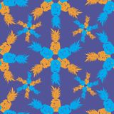 Pineapple Tile-Fruit Delight. Seamless Repeat Pattern illustration.Background in Blue,Yellow and Purple. Pineapple Tile-Fruit Delight .seamless Repeat Pattern vector illustration
