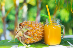 Pineapple tropic fruit summer refreshment smoothie Royalty Free Stock Images