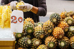 Pineapple. Tropical fruit or ananas in the market Stock Photography