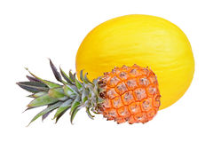Pineapple tropical fruit and melon isolated Stock Photos
