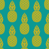 Pineapple tropical fruit seamless pattern Stock Photos