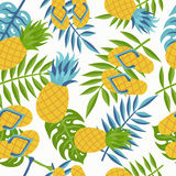 Pineapple tropical jungle pattern for summer royalty free illustration