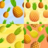 Pineapple tropical pattern set, cartoon style. Pineapple tropical pattern set. Cartoon illustration of pineapple tropical vector pattern set for web design vector illustration