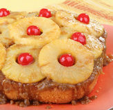Pineapple Upside Down Cake. On a platter Stock Photography