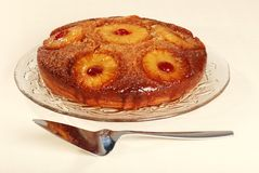 Pineapple upside down cake with cherries Stock Photography