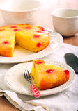 Pineapple upside down cake. With cherry glace royalty free stock photography