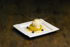 Pineapple vanilla ice-cream dessert. Royalty Free Stock Image