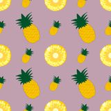 Pineapple vector seamless pattern. Tropical juicy background.  Royalty Free Stock Images