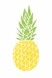 Pineapple - vintage icon. Cartoon drawing. Yellow ripe fruit wit Royalty Free Stock Photo