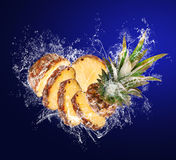 Pineapple in water drops Royalty Free Stock Photography