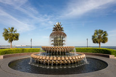 Pineapple Water Fountain in Charleston, SC. Pineapple water fountain in Waterfront Park in Charleston, SC.  Pineapples are a symbol of hospitality in the Royalty Free Stock Image
