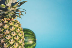 Pineapple and Watermelon Stock Images