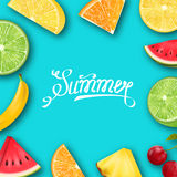 Pineapple, Watermelon, Banana, Cherry, Orange, Lemon, Lime , Summer Frame Royalty Free Stock Photography