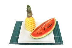 Pineapple and watermelon in square plate Royalty Free Stock Photos
