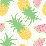 Pineapple and watermelon. Summer pattern. Seamless background Stock Images