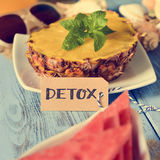 Pineapple, watermelon and word detox Royalty Free Stock Image