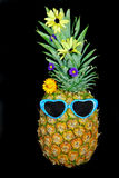Pineapple Wearing Sunglasses Royalty Free Stock Images