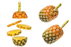 Pineapple on white background. Pineapple is sliced into stack layers on white background stock photos