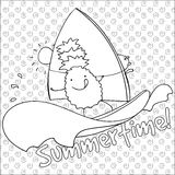 Pineapple windsurfing summertime coloring book page  illustration. Stock Image