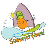 Pineapple windsurfing summertime  illustration. Royalty Free Stock Image