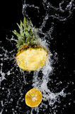 Pineapple With Splashing Water Royalty Free Stock Photos