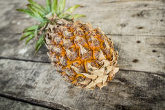 Pineapple on wood table. One whole pineapple photographed on a white background stock photography