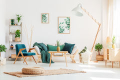 Living room with green furniture. Pineapple on wooden stool in living room with green furniture and braided pouf on carpet Stock Image
