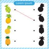 Pineapple worksheet vector design. Pineapple artwork vector design stock illustration