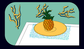Pineapple on a yellow plate Stock Photo