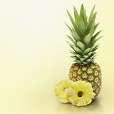 Pineapple on yellow solid. Background Royalty Free Stock Photography