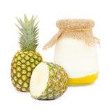Pineapple yogurt Stock Photography