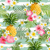 Pineapples And Tropical Flowers Geometry Background Stock Images