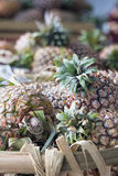 Pineapples in Basket Closeup Royalty Free Stock Image