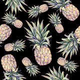 Pineapples on a black background. Watercolor colourful illustration. Tropical fruit. Seamless pattern.  stock illustration