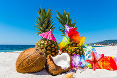 Pineapples and coconuts on the sand Stock Photo