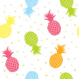 Pineapples colorful seamless texture pattern Royalty Free Stock Image