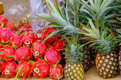 Pineapples and Dragonfruit Stock Photo