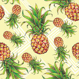 Pineapples with geometrical forms on a yellow background. Royalty Free Stock Image