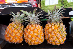 Pineapples at the market Stock Photo