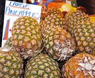 Pineapples on market stall. Royalty Free Stock Photography