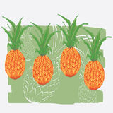 Pineapples. Painting of pineapple in colors stock illustration