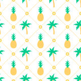 Pineapples and palm trees seamless pattern Stock Photography